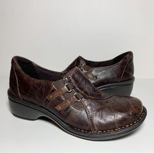Clarks Artisan Slip On Brown Leather Shoes Buckle